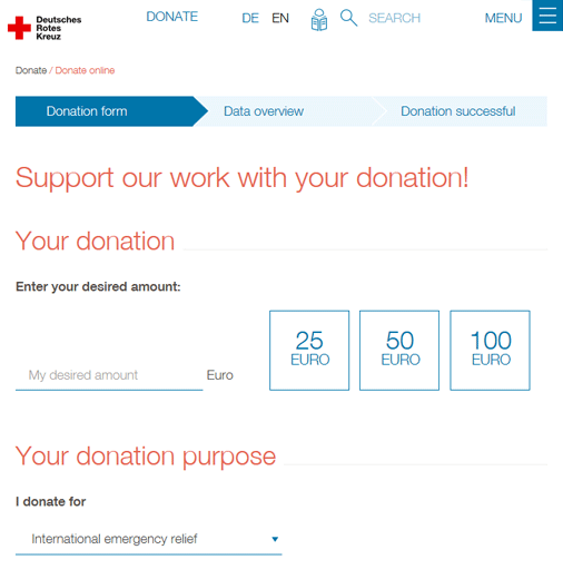 German Red Cross online donations