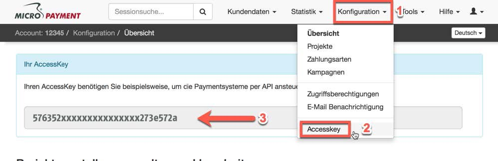 Configure the Micropayment access key