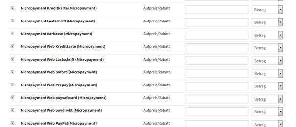 JTL Assign payment types